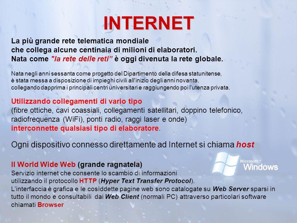 INTERNET La più grande rete telematica mondiale che collega alcune centinaia di milioni di elaboratori. Nata come
