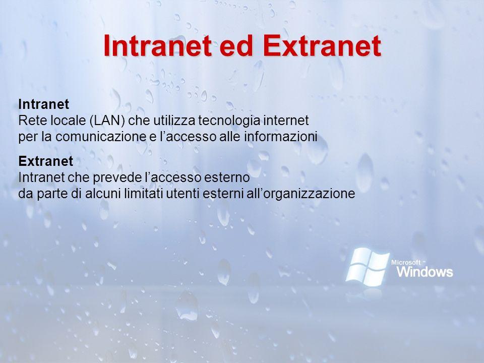 Intranet ed Extranet Intranet Rete locale (LAN) che utilizza tecnologia internet per la comunicazione e laccesso alle informazioni Extranet Intranet c