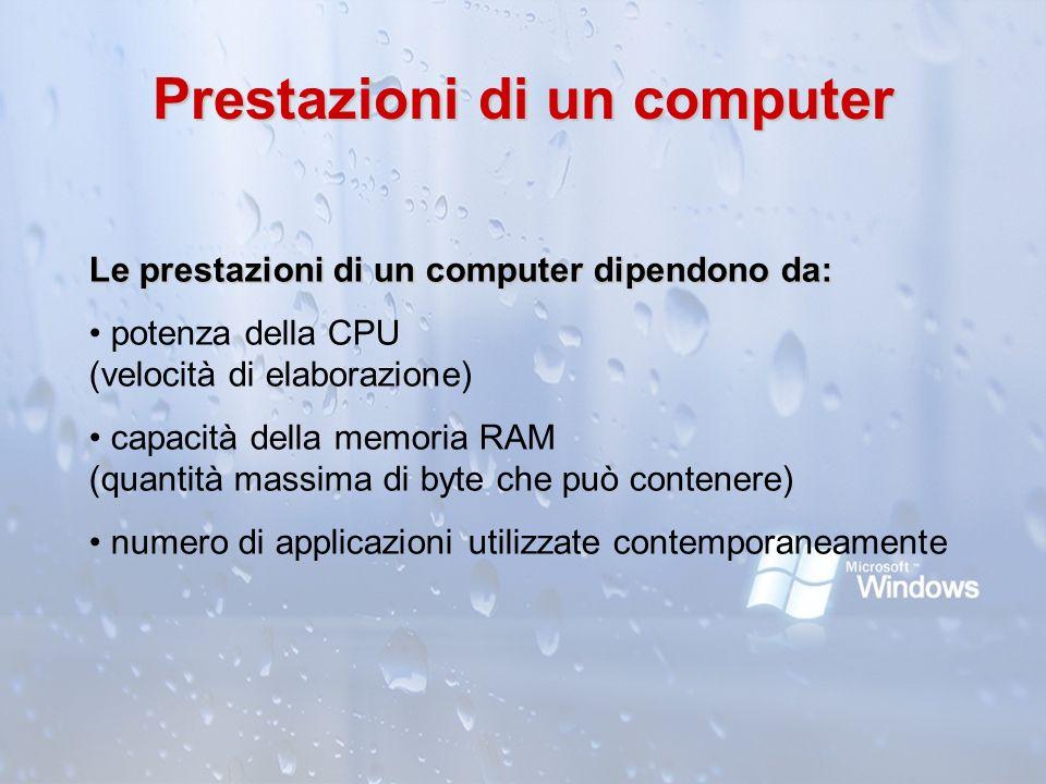 Prestazioni di un computer Le prestazioni di un computer dipendono da: potenza della CPU (velocità di elaborazione) capacità della memoria RAM (quanti