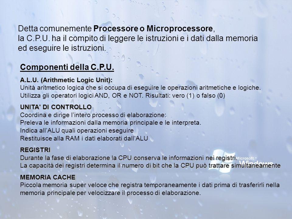 Detta comunemente Processore o Microprocessore, la C.P.U. ha il compito di leggere le istruzioni e i dati dalla memoria ed eseguire le istruzioni. Com