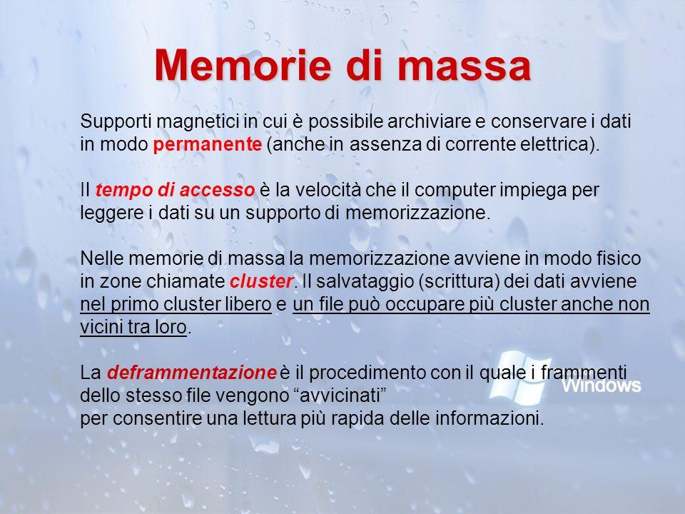 Memorie di massa Supporti magnetici in cui è possibile archiviare e conservare i dati in modo permanente (anche in assenza di corrente elettrica). Il