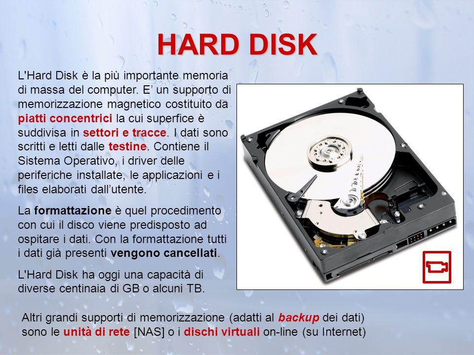 HARD DISK L'Hard Disk è la più importante memoria di massa del computer. E un supporto di memorizzazione magnetico costituito da piatti concentrici la