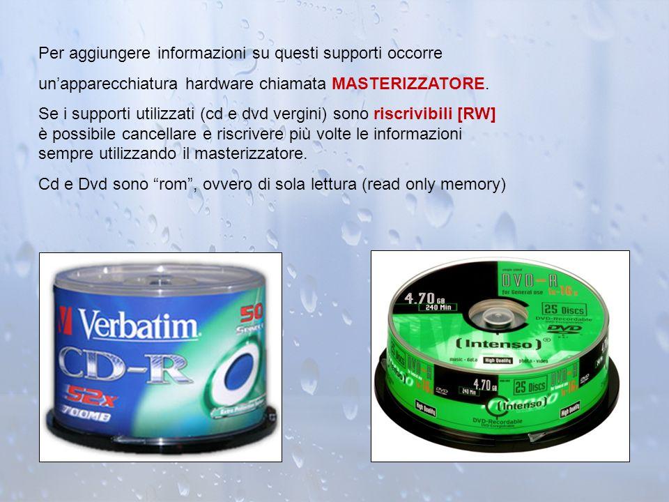 Per aggiungere informazioni su questi supporti occorre unapparecchiatura hardware chiamata MASTERIZZATORE. Se i supporti utilizzati (cd e dvd vergini)