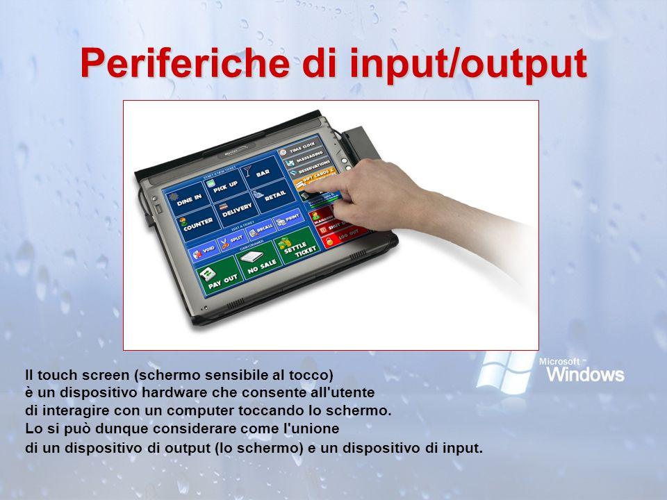 Periferiche di input/output Il touch screen (schermo sensibile al tocco) è un dispositivo hardware che consente all'utente di interagire con un comput