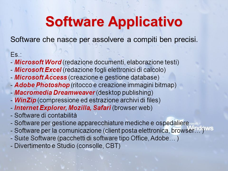Software Applicativo Software che nasce per assolvere a compiti ben precisi.