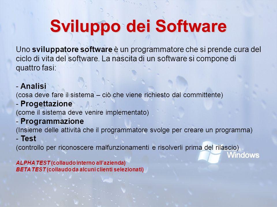 Sviluppo dei Software Uno sviluppatore software è un programmatore che si prende cura del ciclo di vita del software. La nascita di un software si com
