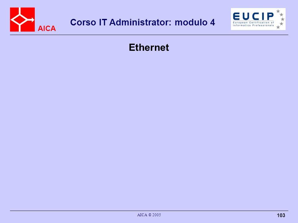 AICA Corso IT Administrator: modulo 4 AICA © 2005 103 Ethernet