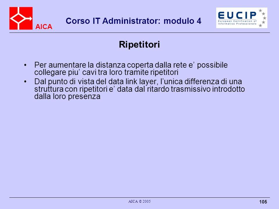 AICA Corso IT Administrator: modulo 4 AICA © 2005 105 Ripetitori Per aumentare la distanza coperta dalla rete e possibile collegare piu cavi tra loro