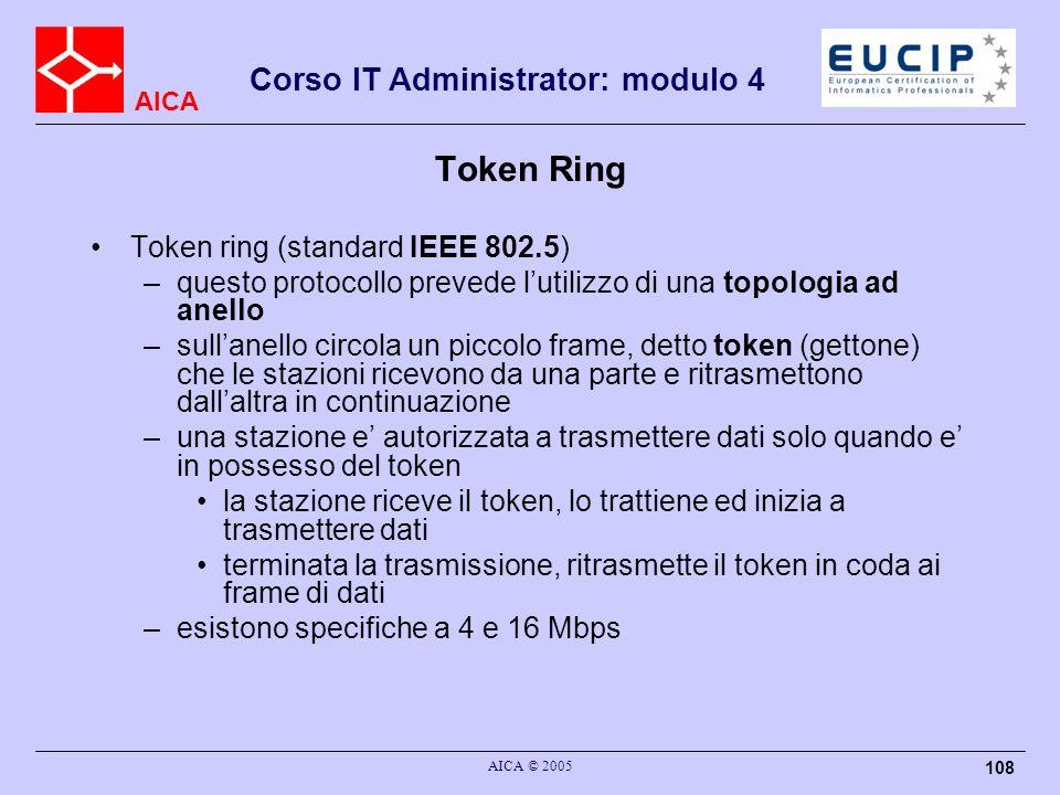 AICA Corso IT Administrator: modulo 4 AICA © 2005 108 Token Ring Token ring (standard IEEE 802.5) –questo protocollo prevede lutilizzo di una topologi