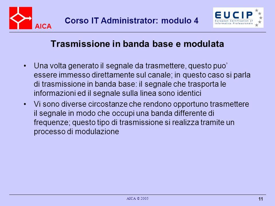 AICA Corso IT Administrator: modulo 4 AICA © 2005 11 Trasmissione in banda base e modulata Una volta generato il segnale da trasmettere, questo puo es