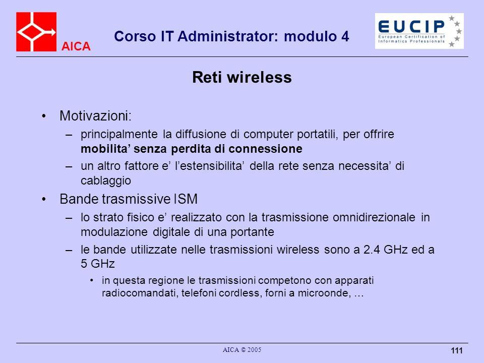 AICA Corso IT Administrator: modulo 4 AICA © 2005 111 Reti wireless Motivazioni: –principalmente la diffusione di computer portatili, per offrire mobi
