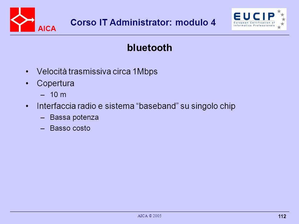 AICA Corso IT Administrator: modulo 4 AICA © 2005 112 bluetooth Velocità trasmissiva circa 1Mbps Copertura –10 m Interfaccia radio e sistema baseband
