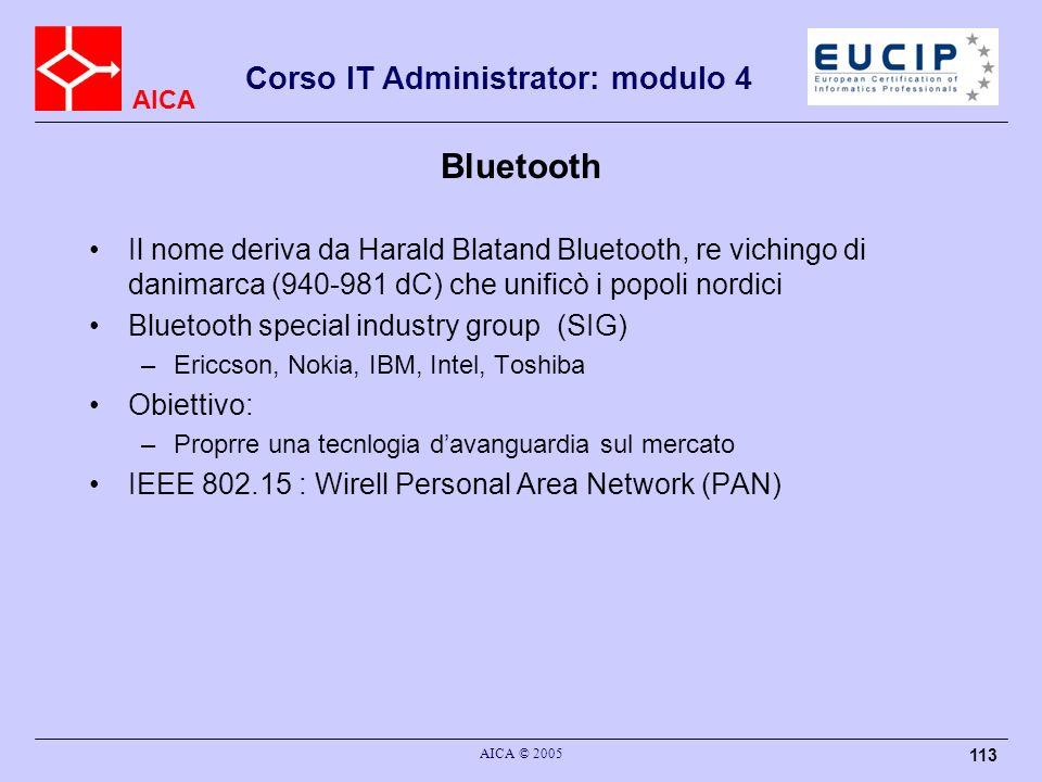 AICA Corso IT Administrator: modulo 4 AICA © 2005 113 Bluetooth Il nome deriva da Harald Blatand Bluetooth, re vichingo di danimarca (940-981 dC) che