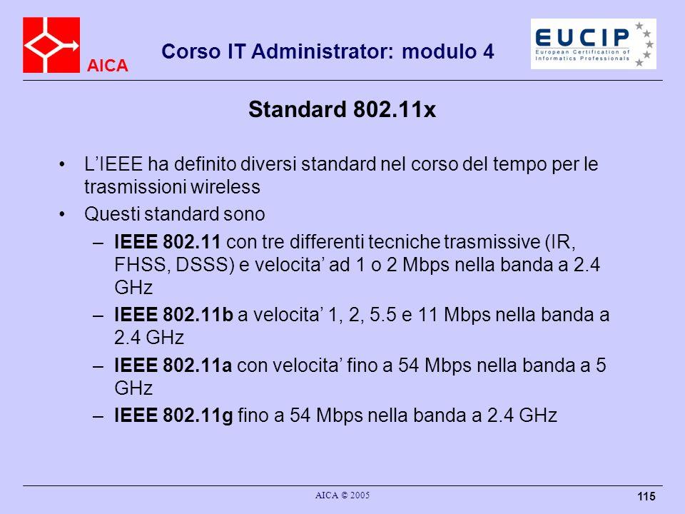 AICA Corso IT Administrator: modulo 4 AICA © 2005 115 Standard 802.11x LIEEE ha definito diversi standard nel corso del tempo per le trasmissioni wire