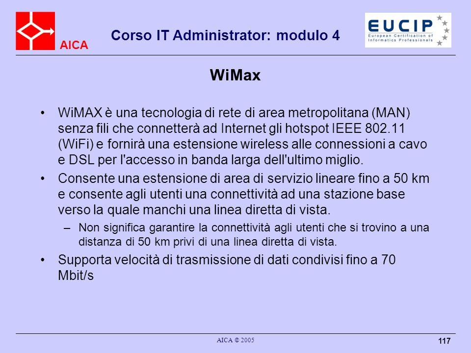 AICA Corso IT Administrator: modulo 4 AICA © 2005 117 WiMax WiMAX è una tecnologia di rete di area metropolitana (MAN) senza fili che connetterà ad In