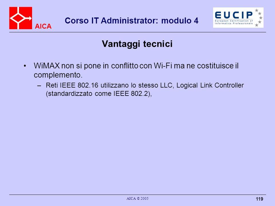AICA Corso IT Administrator: modulo 4 AICA © 2005 119 Vantaggi tecnici WiMAX non si pone in conflitto con Wi-Fi ma ne costituisce il complemento. –Ret