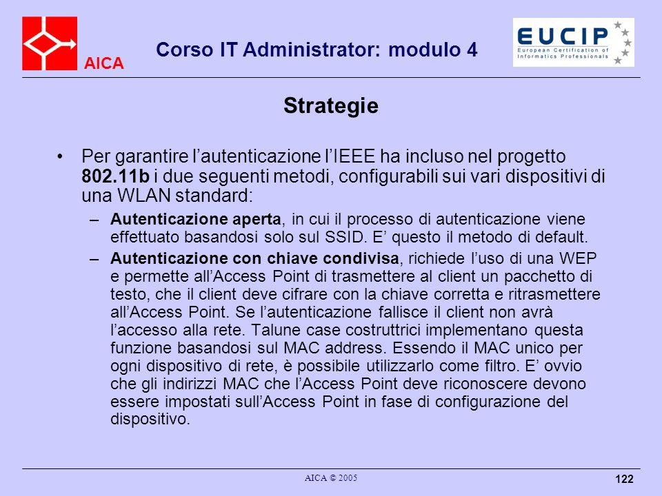 AICA Corso IT Administrator: modulo 4 AICA © 2005 122 Strategie Per garantire lautenticazione lIEEE ha incluso nel progetto 802.11b i due seguenti met