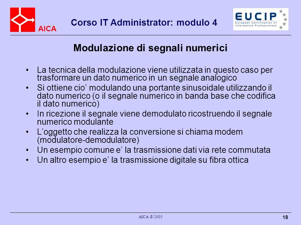 AICA Corso IT Administrator: modulo 4 AICA © 2005 18 Modulazione di segnali numerici La tecnica della modulazione viene utilizzata in questo caso per