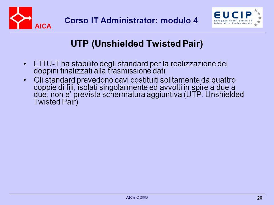 AICA Corso IT Administrator: modulo 4 AICA © 2005 26 UTP (Unshielded Twisted Pair) LITU-T ha stabilito degli standard per la realizzazione dei doppini