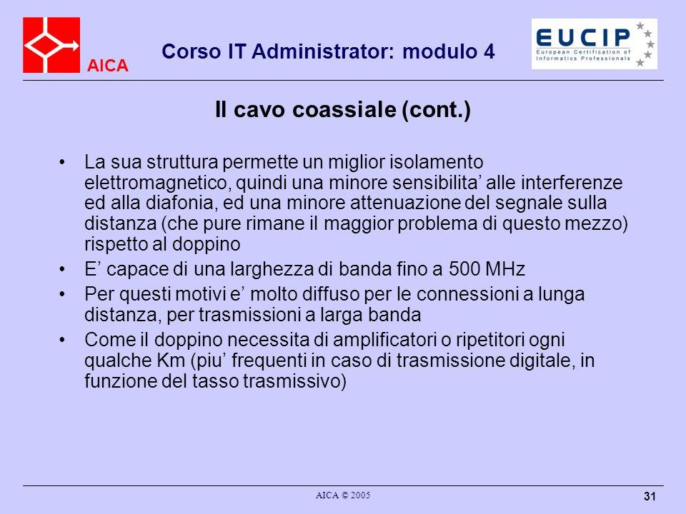 AICA Corso IT Administrator: modulo 4 AICA © 2005 31 Il cavo coassiale (cont.) La sua struttura permette un miglior isolamento elettromagnetico, quind
