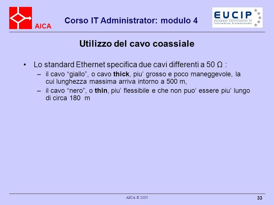 AICA Corso IT Administrator: modulo 4 AICA © 2005 33 Utilizzo del cavo coassiale Lo standard Ethernet specifica due cavi differenti a 50 Ω : –il cavo