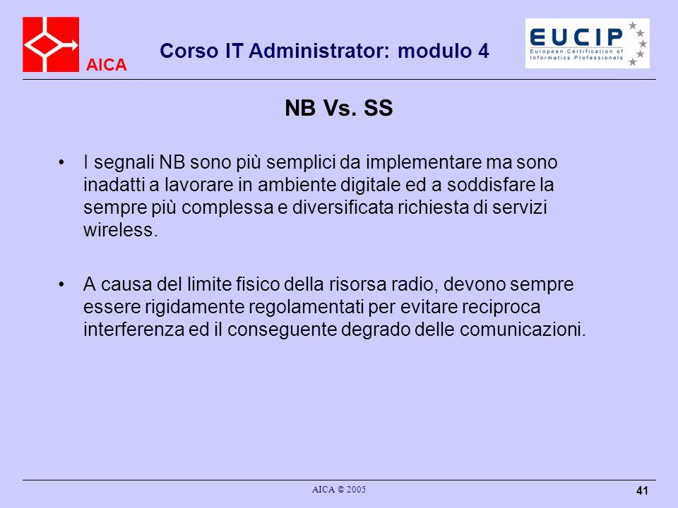AICA Corso IT Administrator: modulo 4 AICA © 2005 41 NB Vs. SS I segnali NB sono più semplici da implementare ma sono inadatti a lavorare in ambiente