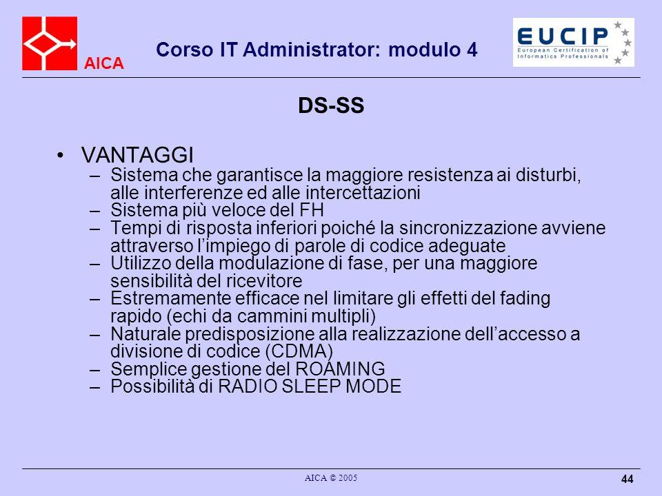 AICA Corso IT Administrator: modulo 4 AICA © 2005 44 DS-SS VANTAGGI –Sistema che garantisce la maggiore resistenza ai disturbi, alle interferenze ed a