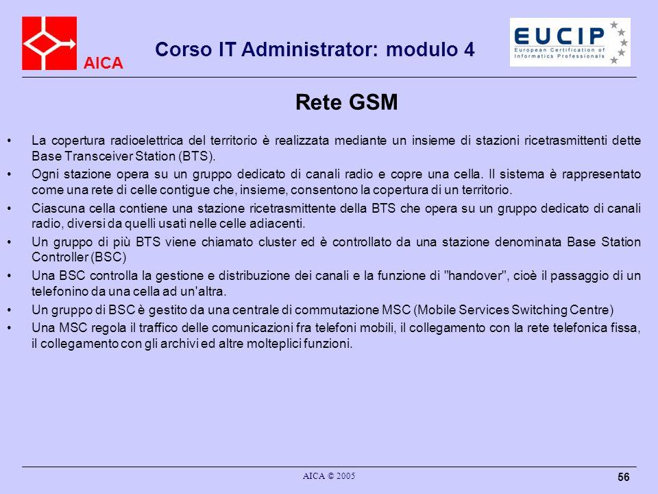 AICA Corso IT Administrator: modulo 4 AICA © 2005 56 Rete GSM La copertura radioelettrica del territorio è realizzata mediante un insieme di stazioni