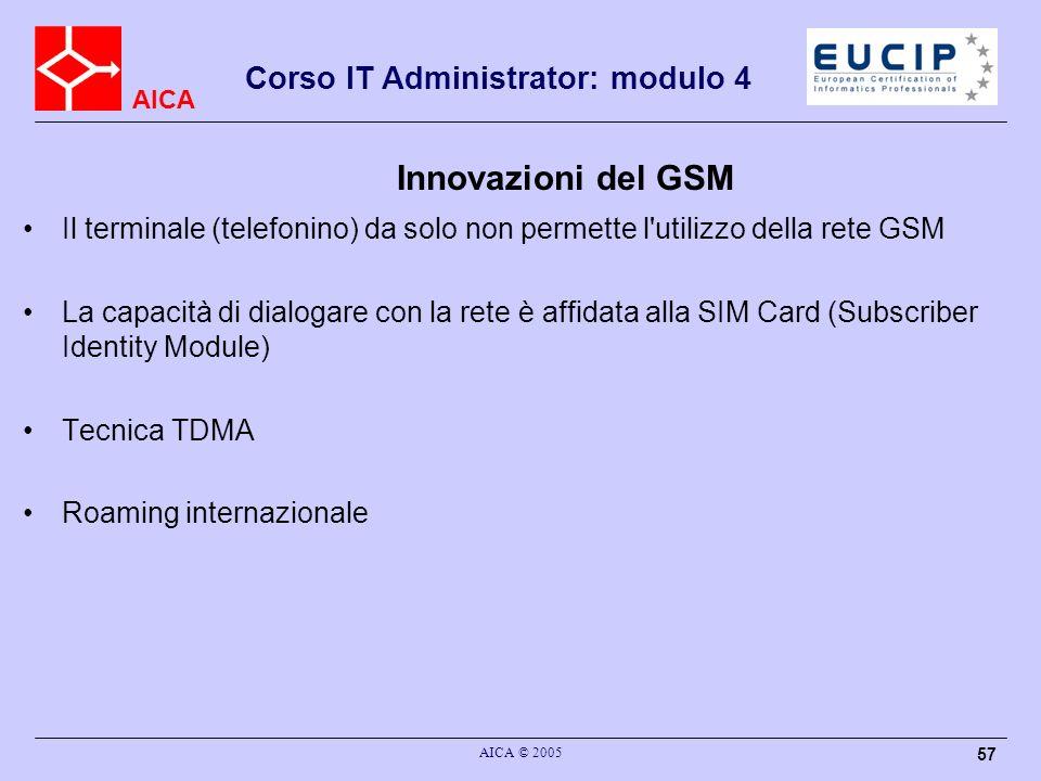 AICA Corso IT Administrator: modulo 4 AICA © 2005 57 Innovazioni del GSM Il terminale (telefonino) da solo non permette l'utilizzo della rete GSM La c