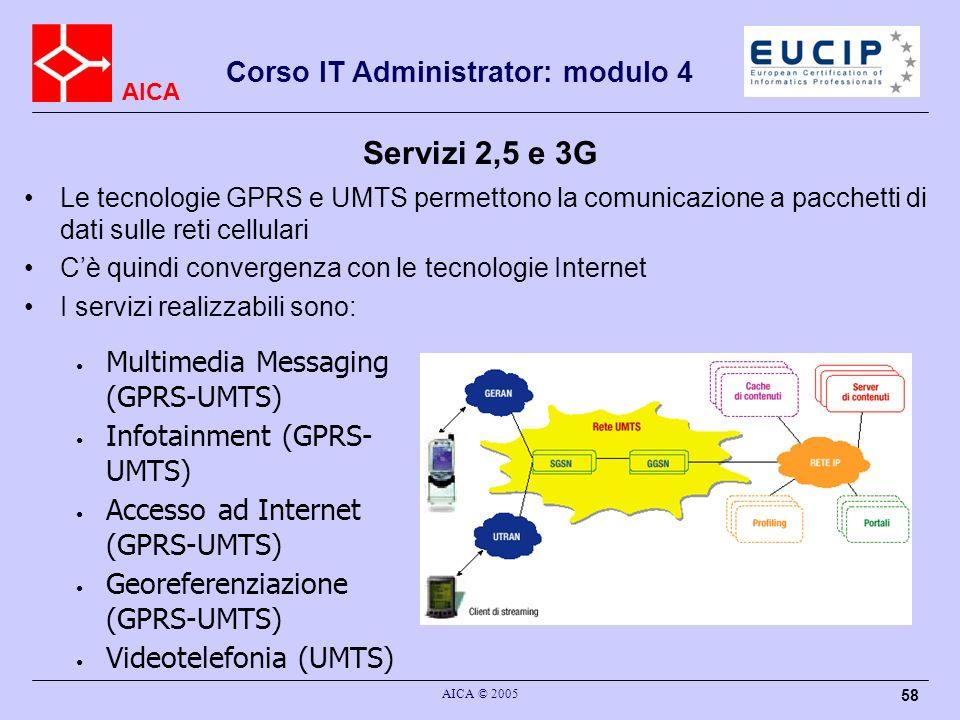 AICA Corso IT Administrator: modulo 4 AICA © 2005 58 Servizi 2,5 e 3G Le tecnologie GPRS e UMTS permettono la comunicazione a pacchetti di dati sulle