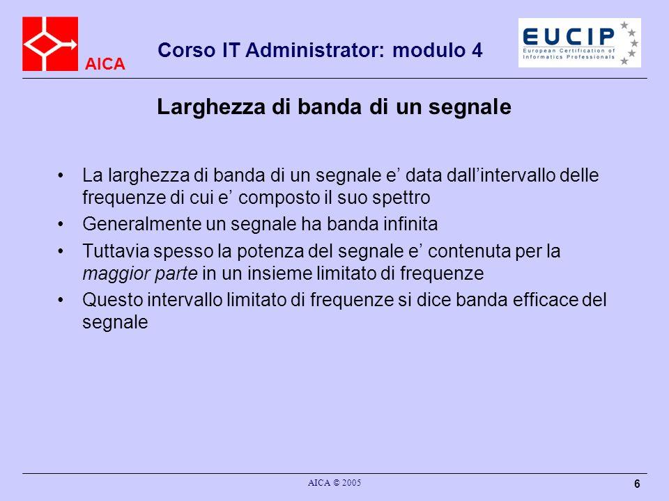 AICA Corso IT Administrator: modulo 4 AICA © 2005 6 Larghezza di banda di un segnale La larghezza di banda di un segnale e data dallintervallo delle f