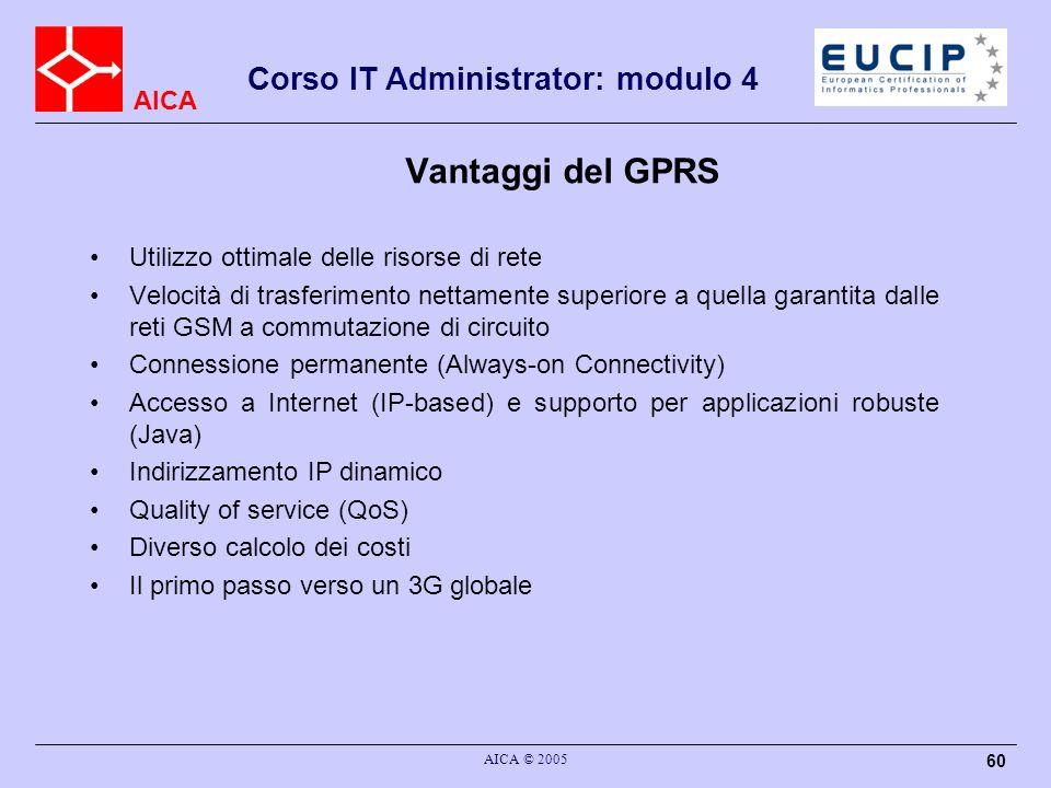AICA Corso IT Administrator: modulo 4 AICA © 2005 60 Vantaggi del GPRS Utilizzo ottimale delle risorse di rete Velocità di trasferimento nettamente su