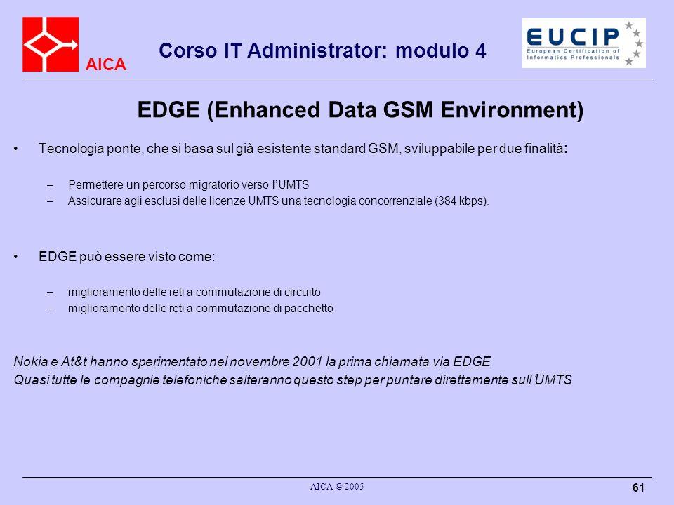 AICA Corso IT Administrator: modulo 4 AICA © 2005 61 EDGE (Enhanced Data GSM Environment) Tecnologia ponte, che si basa sul già esistente standard GSM