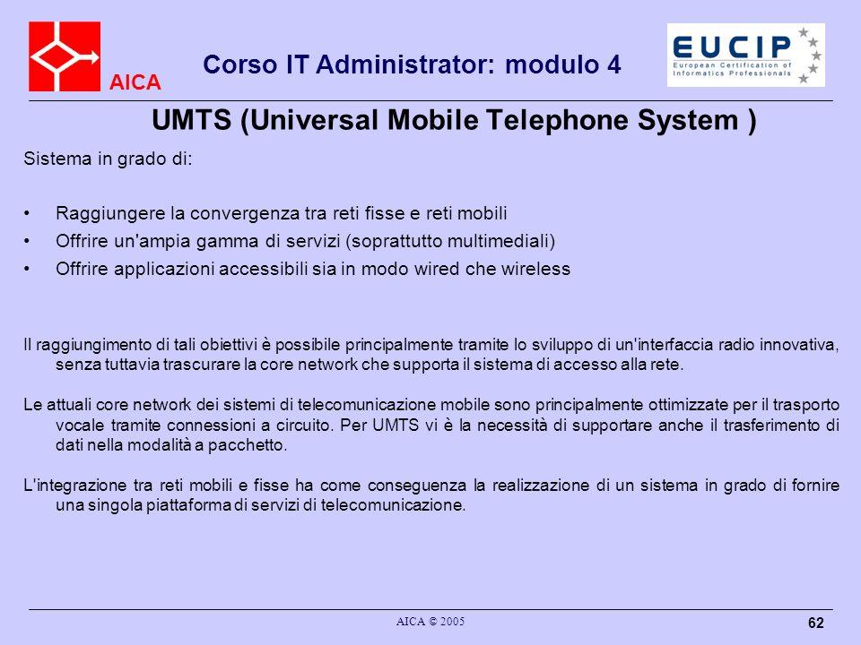 AICA Corso IT Administrator: modulo 4 AICA © 2005 62 UMTS (Universal Mobile Telephone System ) Sistema in grado di: Raggiungere la convergenza tra ret