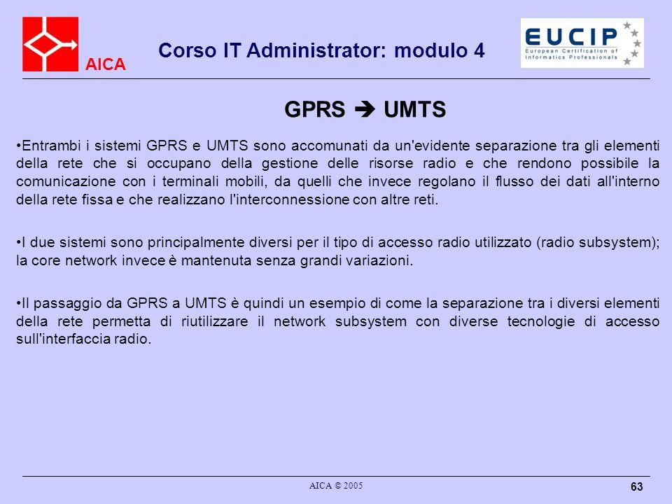 AICA Corso IT Administrator: modulo 4 AICA © 2005 63 GPRS UMTS Entrambi i sistemi GPRS e UMTS sono accomunati da un'evidente separazione tra gli eleme