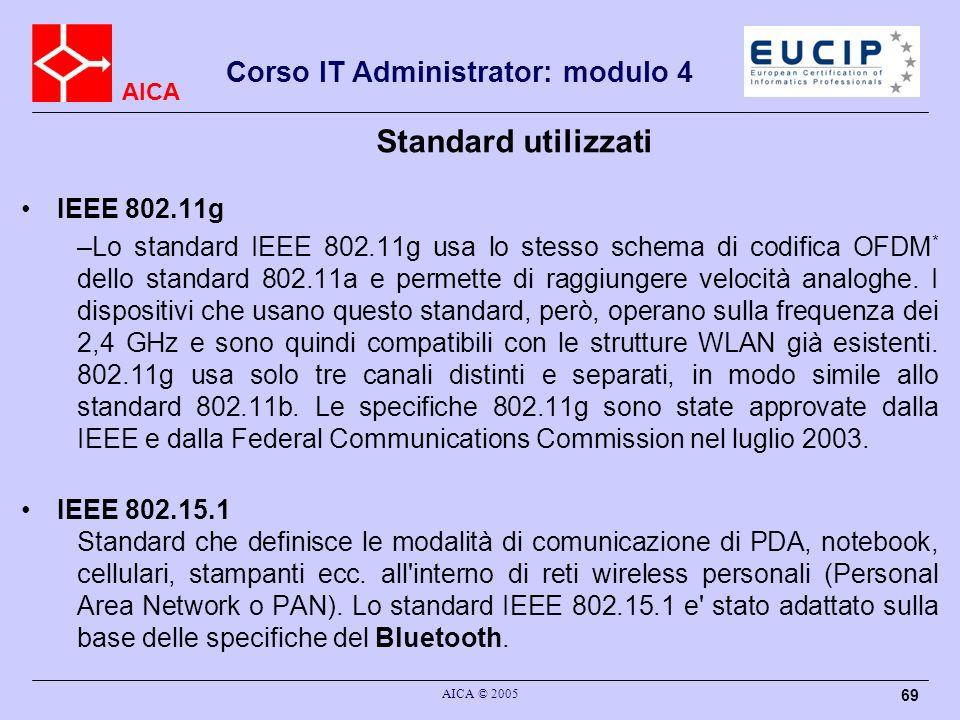 AICA Corso IT Administrator: modulo 4 AICA © 2005 69 Standard utilizzati IEEE 802.11g –Lo standard IEEE 802.11g usa lo stesso schema di codifica OFDM