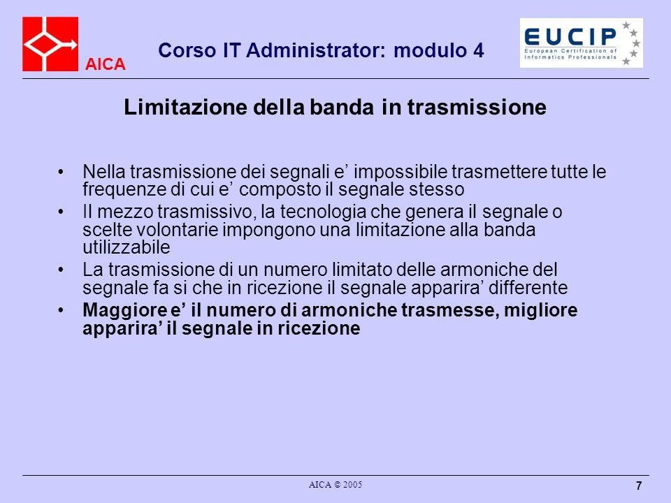 AICA Corso IT Administrator: modulo 4 AICA © 2005 7 Limitazione della banda in trasmissione Nella trasmissione dei segnali e impossibile trasmettere t