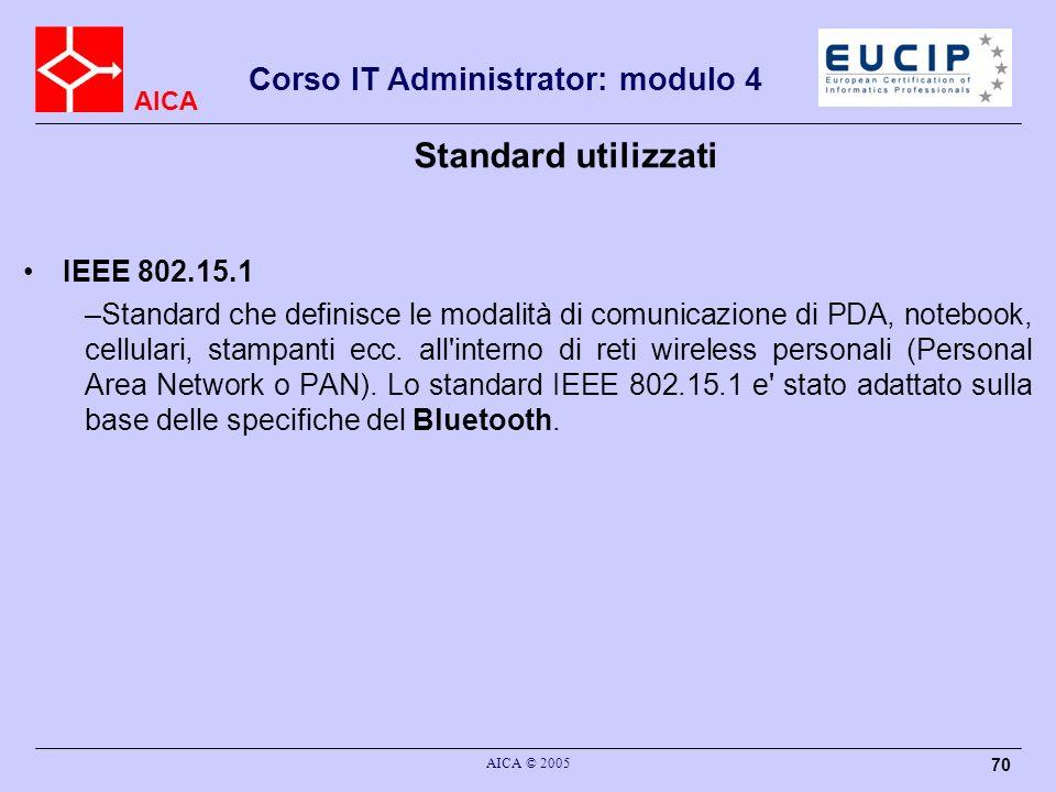 AICA Corso IT Administrator: modulo 4 AICA © 2005 70 Standard utilizzati IEEE 802.15.1 –Standard che definisce le modalità di comunicazione di PDA, no