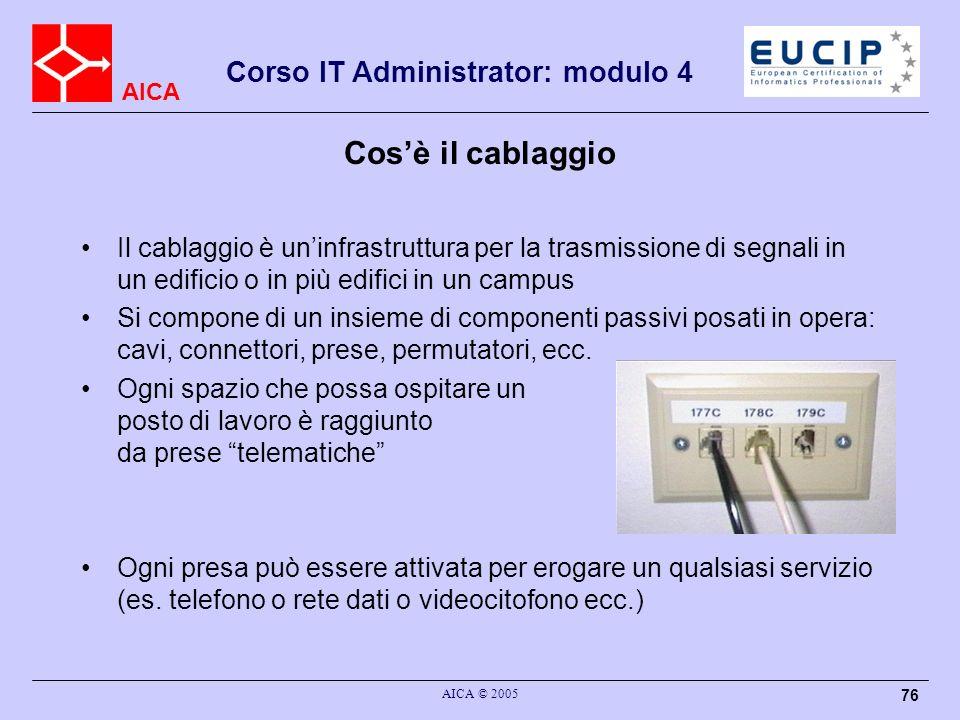 AICA Corso IT Administrator: modulo 4 AICA © 2005 76 Il cablaggio è uninfrastruttura per la trasmissione di segnali in un edificio o in più edifici in