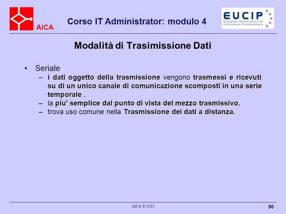 AICA Corso IT Administrator: modulo 4 AICA © 2005 90 Modalità di Trasimissione Dati Seriale –i dati oggetto della trasmissionetrasmessi e ricevuti su