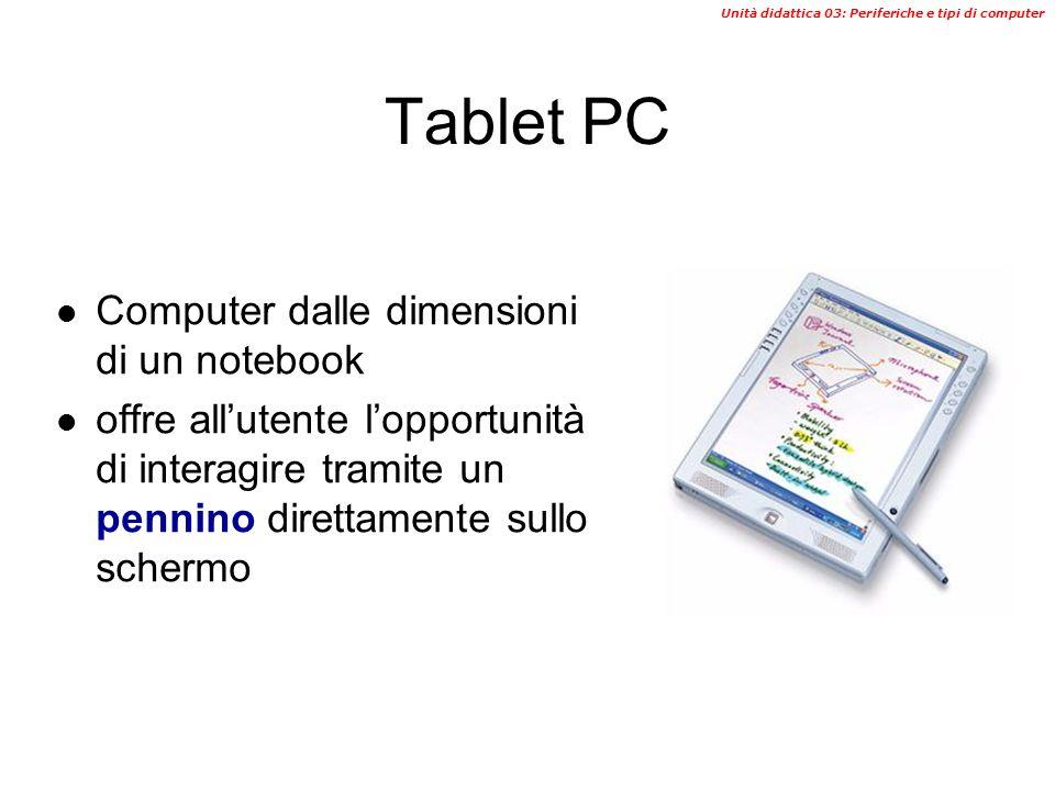 Unità didattica 03: Periferiche e tipi di computer PDA (Personal Digital Assistant) Sono computer dalle ridotte dimensioni e capacità di memoria Sono