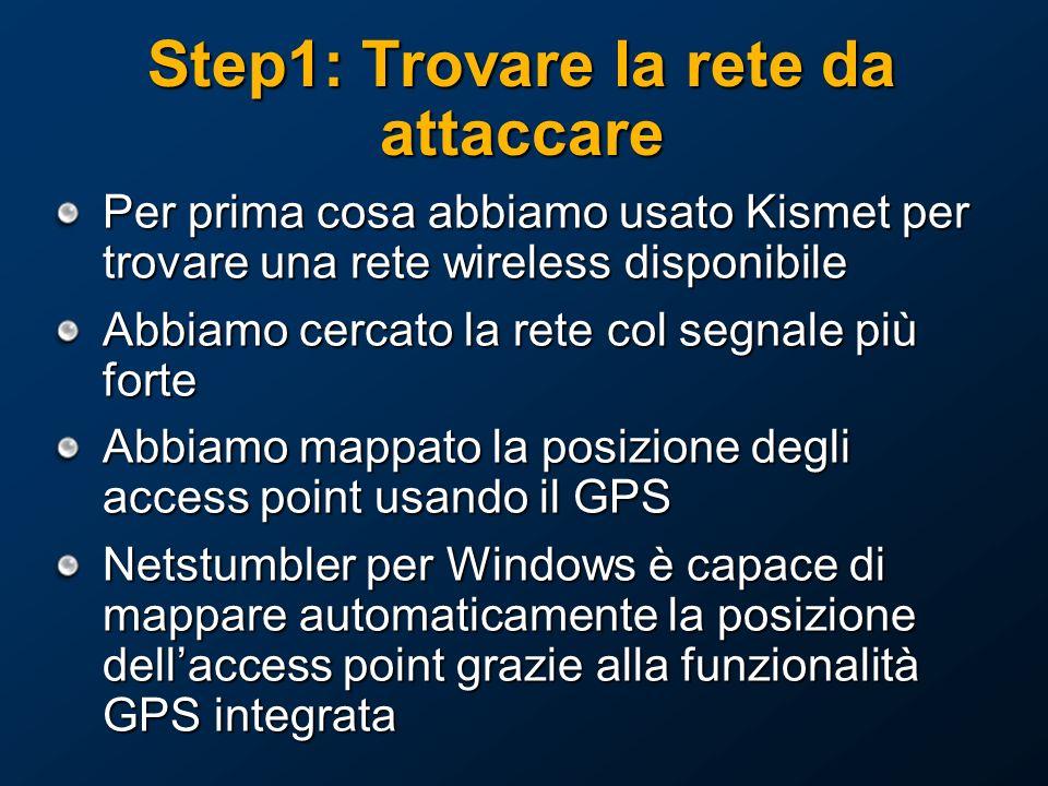 Step1: Trovare la rete da attaccare Per prima cosa abbiamo usato Kismet per trovare una rete wireless disponibile Abbiamo cercato la rete col segnale più forte Abbiamo mappato la posizione degli access point usando il GPS Netstumbler per Windows è capace di mappare automaticamente la posizione dellaccess point grazie alla funzionalità GPS integrata
