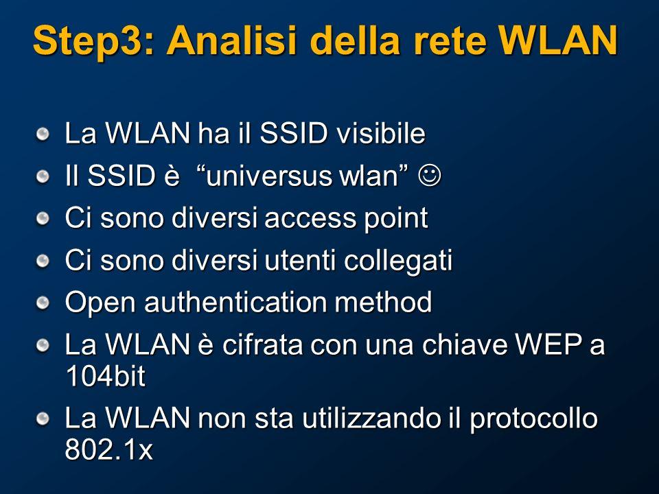 Step3: Analisi della rete WLAN La WLAN ha il SSID visibile Il SSID è universus wlan Il SSID è universus wlan Ci sono diversi access point Ci sono diversi utenti collegati Open authentication method La WLAN è cifrata con una chiave WEP a 104bit La WLAN non sta utilizzando il protocollo 802.1x