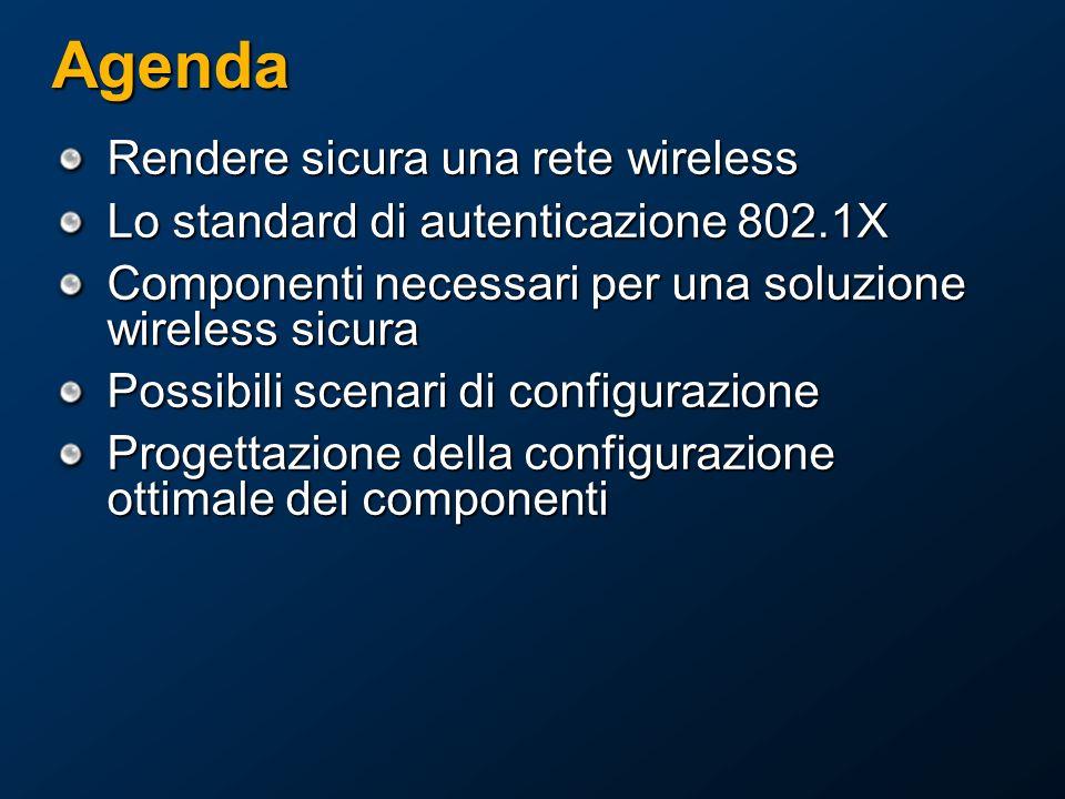 Agenda Rendere sicura una rete wireless Lo standard di autenticazione 802.1X Componenti necessari per una soluzione wireless sicura Possibili scenari di configurazione Progettazione della configurazione ottimale dei componenti