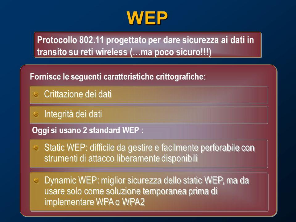 WEP Protocollo 802.11 progettato per dare sicurezza ai dati in transito su reti wireless (…ma poco sicuro!!!) Crittazione dei dati Integrità dei dati Static WEP: difficile da gestire e facilmente perforabile con strumenti di attacco liberamente disponibili Dynamic WEP: miglior sicurezza dello static WEP, ma da usare solo come soluzione temporanea prima di implementare WPA o WPA2 Oggi si usano 2 standard WEP : Fornisce le seguenti caratteristiche crittografiche: