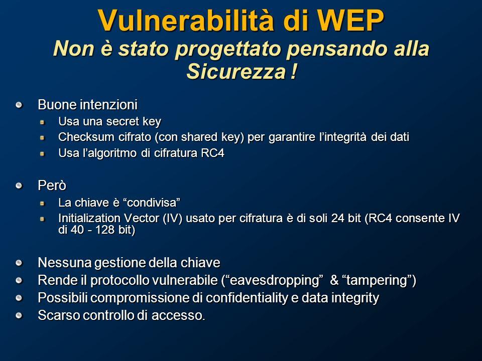 Vulnerabilità di WEP Non è stato progettato pensando alla Sicurezza .
