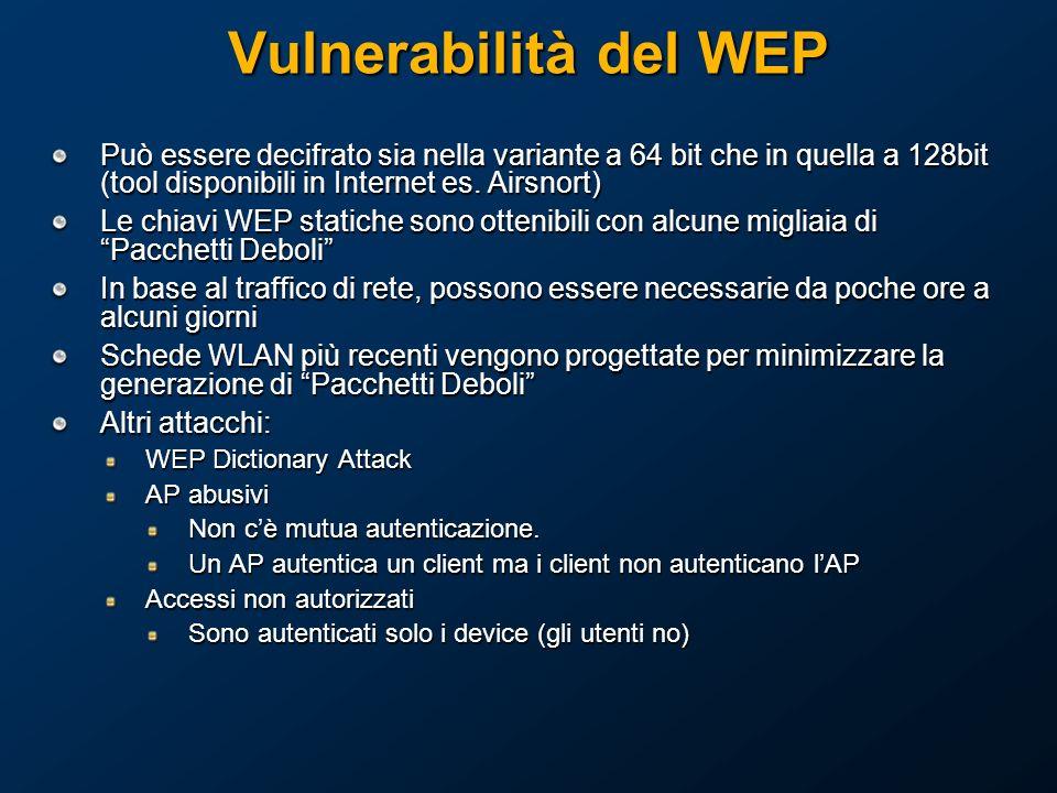 Vulnerabilità del WEP Può essere decifrato sia nella variante a 64 bit che in quella a 128bit (tool disponibili in Internet es.