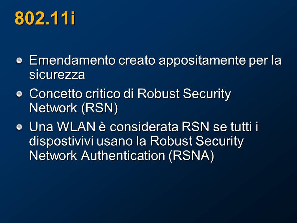 802.11i Emendamento creato appositamente per la sicurezza Concetto critico di Robust Security Network (RSN) Una WLAN è considerata RSN se tutti i dispostivivi usano la Robust Security Network Authentication (RSNA)