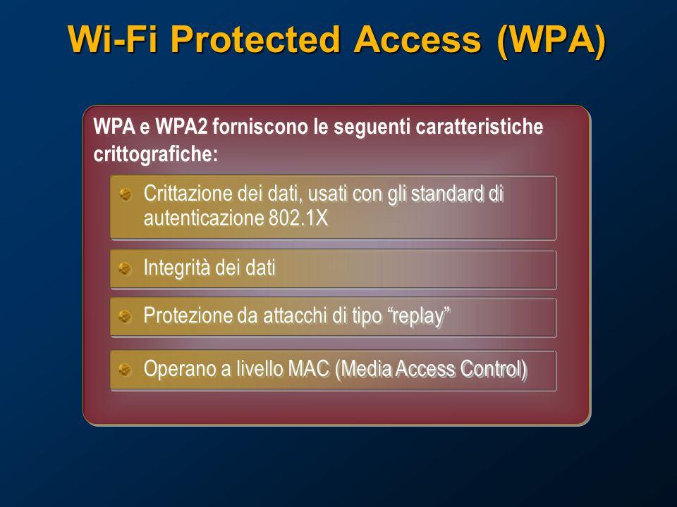 Wi-Fi Protected Access (WPA) WPA e WPA2 forniscono le seguenti caratteristiche crittografiche: Crittazione dei dati, usati con gli standard di autenticazione 802.1X Integrità dei dati Protezione da attacchi di tipo replay Operano a livello MAC (Media Access Control)