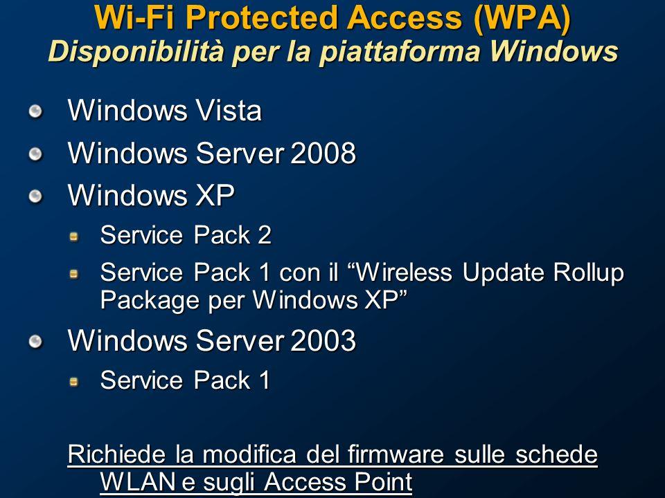 Wi-Fi Protected Access (WPA) Disponibilità per la piattaforma Windows Windows Vista Windows Server 2008 Windows XP Service Pack 2 Service Pack 1 con il Wireless Update Rollup Package per Windows XP Windows Server 2003 Service Pack 1 Richiede la modifica del firmware sulle schede WLAN e sugli Access Point